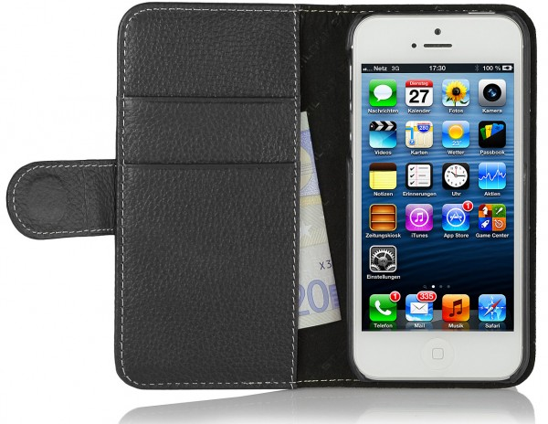 StilGut - iPhone SE leather Cover Talis with Card Holder