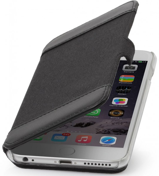 "StilGut - iPhone 6 Plus case ""Book Type"" textile and leather"