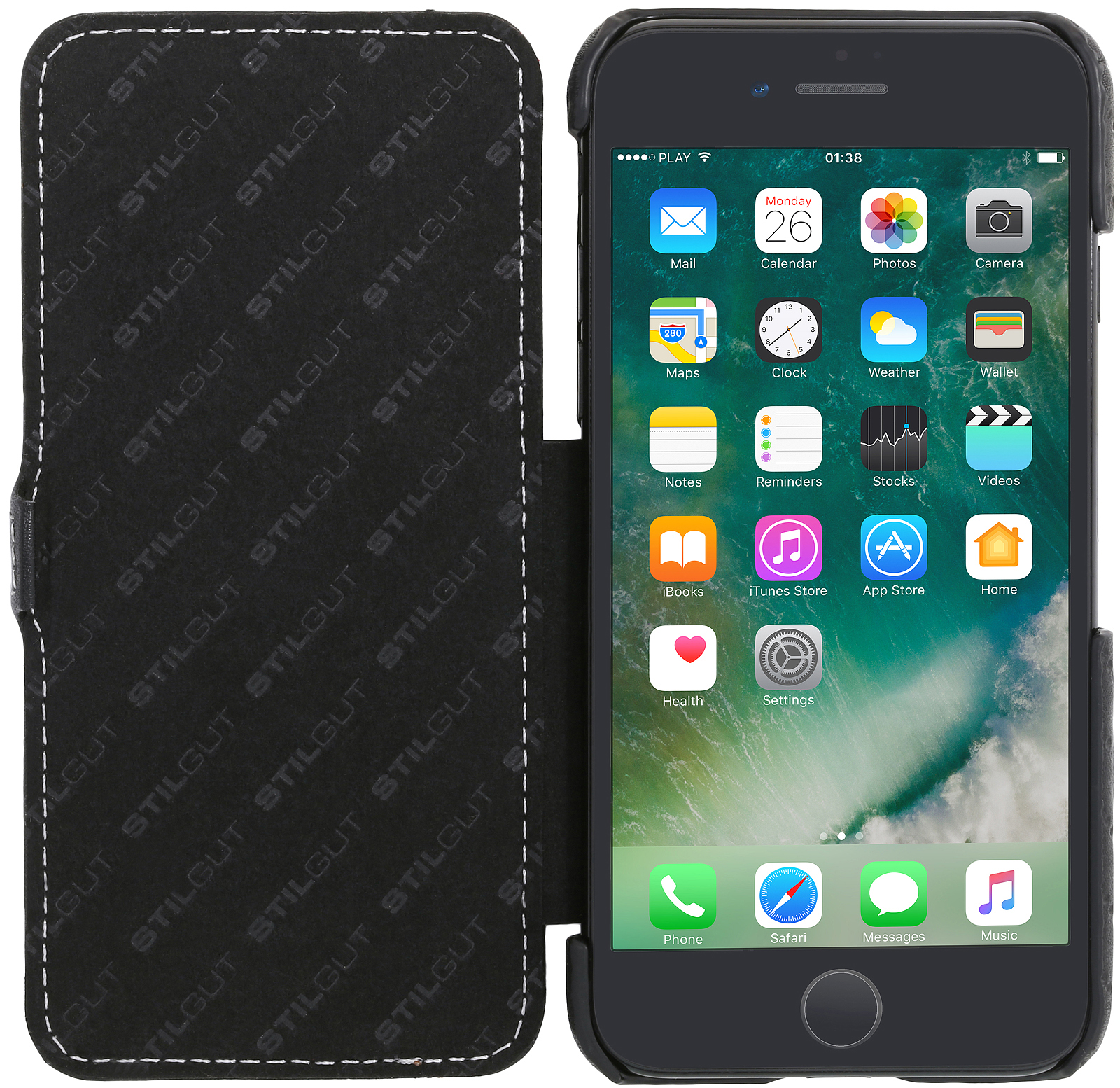 Iphone 7 Stand Up Cover Book Type Made Out Of Leather Stilgut