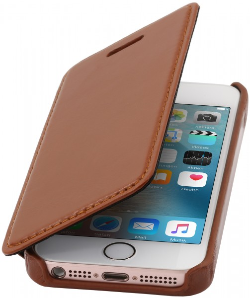 StilGut - iPhone SE cover Book Type in leather without clip