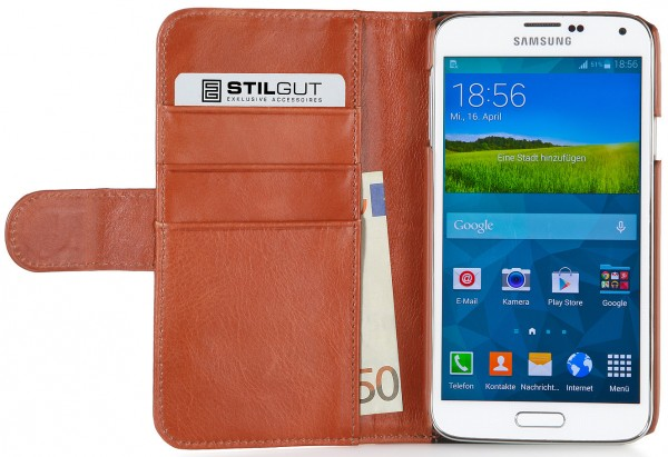 """StilGut - Leather case """"Talis"""" in donegal-tweed for Samsung Galaxy S5"""