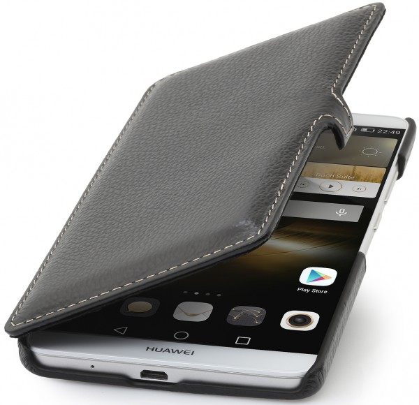 "StilGut - Huawei Ascend Mate 7 leather case ""Book Type"" with clip"
