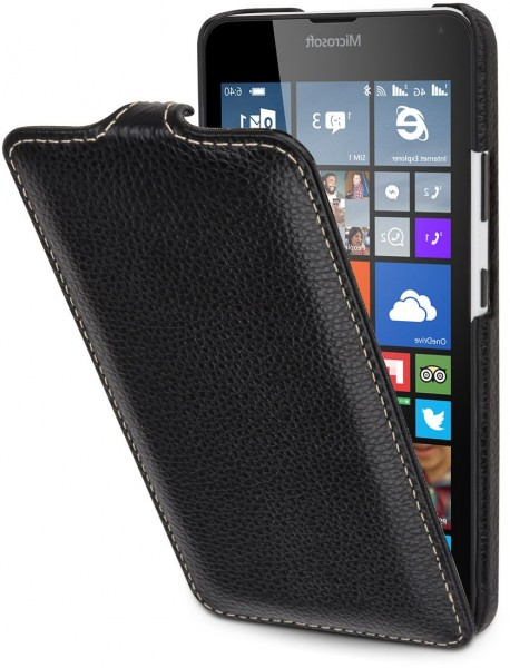 "StilGut - Lumia 640 leather case ""UltraSlim"" (orange/blue)"