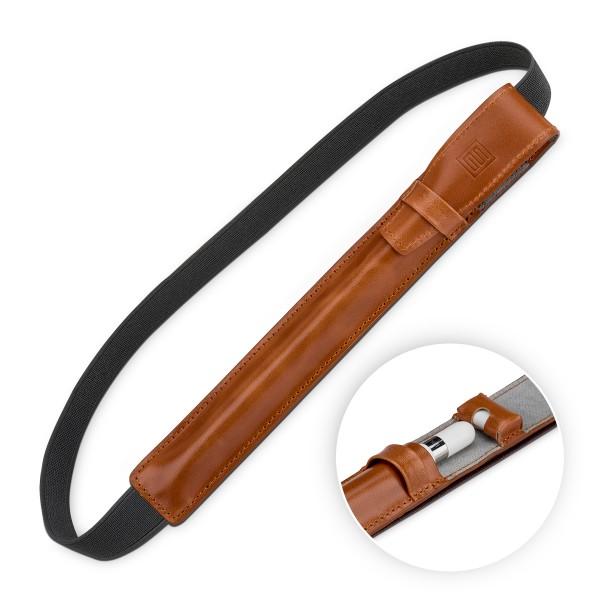 "StilGut - iPad Pro 12.9"" Pencil Holder with Lightning Adapter Pocket and Leather Flap"