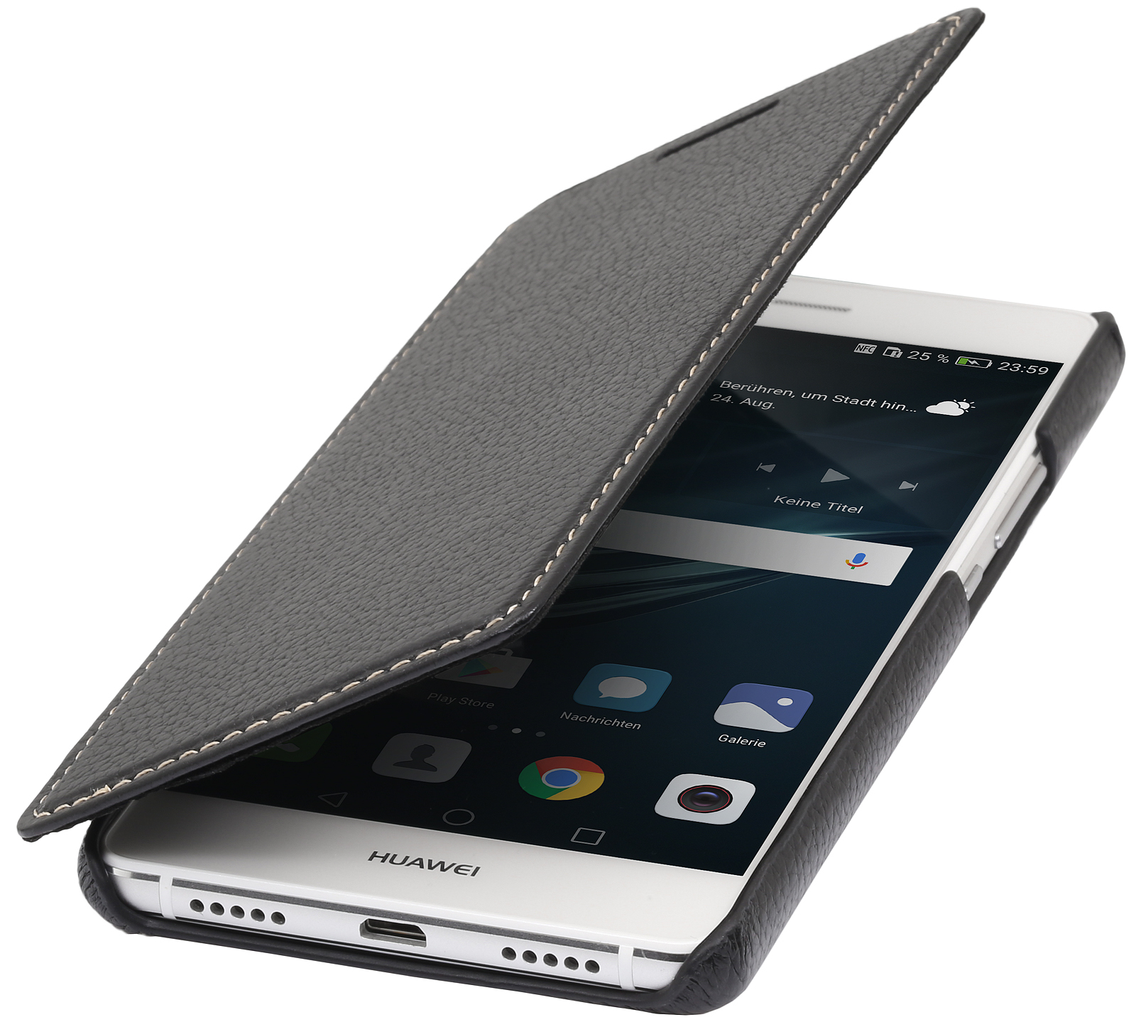 huawei p9 lite cover book type in leather without clip stilgut. Black Bedroom Furniture Sets. Home Design Ideas
