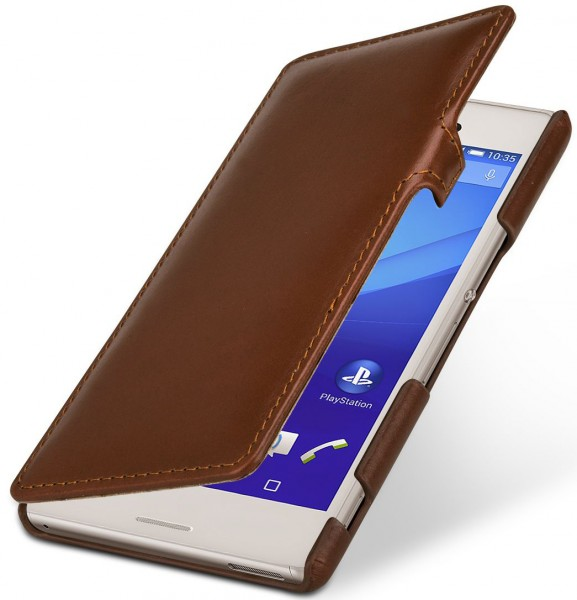 "StilGut - Xperia M4 Aqua leather case ""Book Type"" with clip"