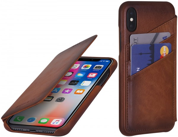 StilGut - iPhone XS Cover Book Type with Card Holder