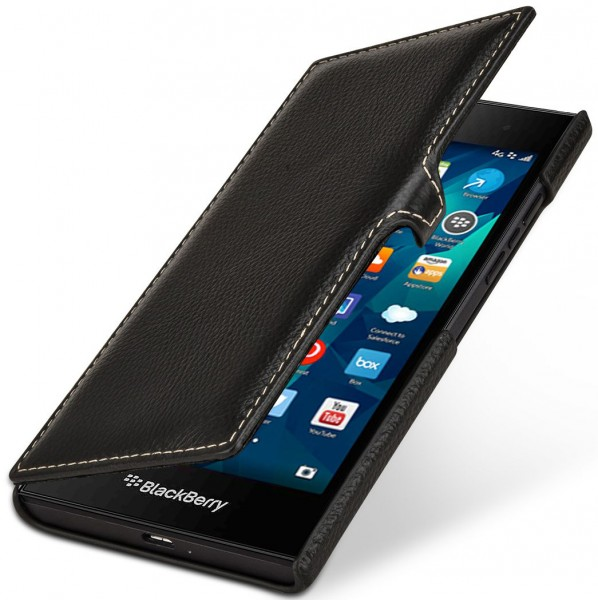StilGut - BlackBerry Leap cover Book Type in leather with clip