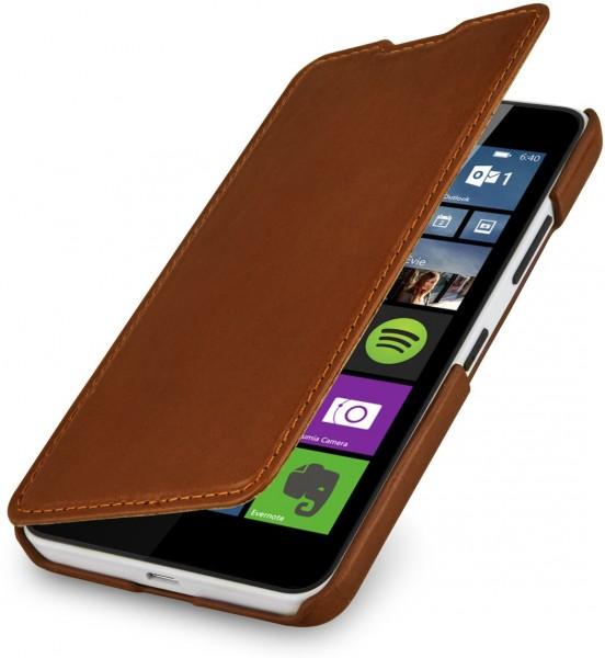 """StilGut - Lumia 640 leather case """"Book Type""""without clip (orange/blue)"""