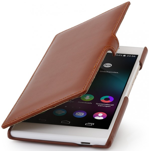 "StilGut - Wiko Ridge Fab 4G leather case ""Book Type"" with clip"