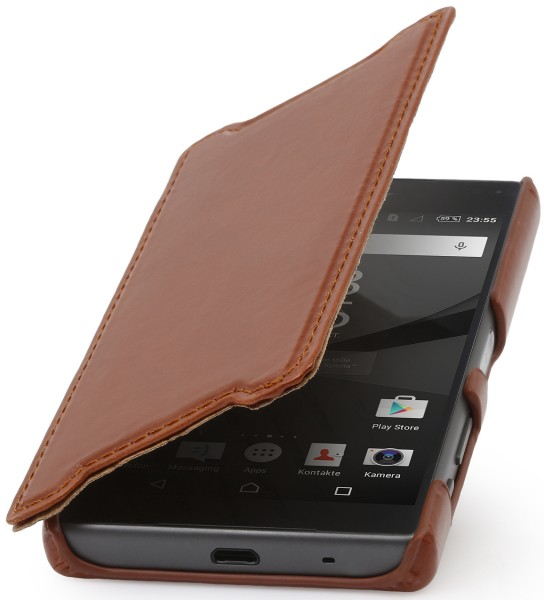 StilGut - Xperia Z5 Compact cover Book Type in leather without clip