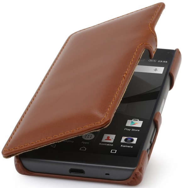 StilGut - Xperia Z5 Compact cover Book Type in leather with clip