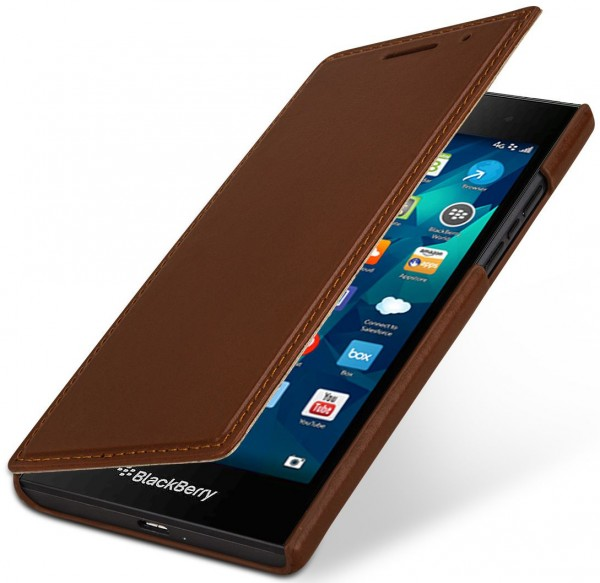 StilGut - BlackBerry Leap cover Book Type in leather without clip