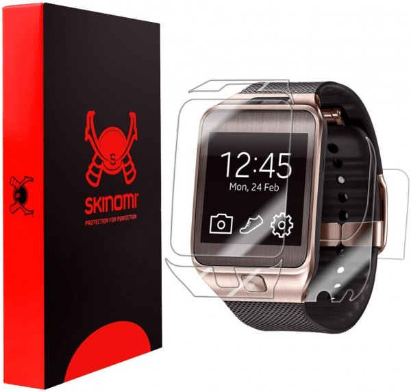 Skinomi - Samsung Gear 2 screen protector TechSkin back and front sides
