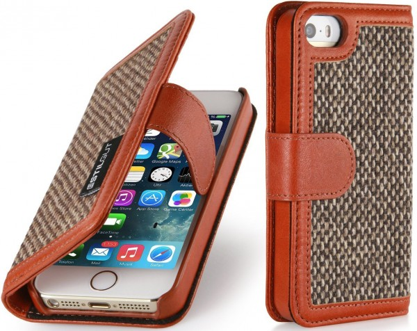 "StilGut - Leather case ""Talis"" with Donegal-Tweed for iPhone 5s"