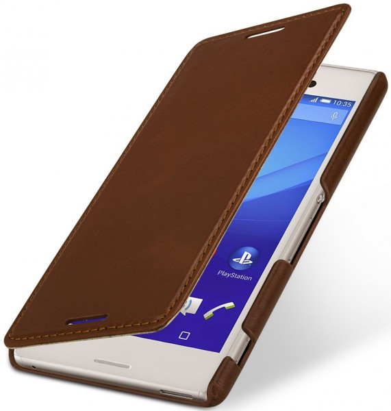 "StilGut - Xperia M4 Aqua leather case ""Book Type"" without clip"